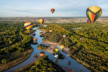 Albuquerque Skies with hot air balloons